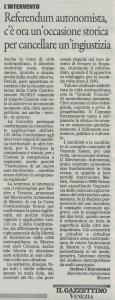 Lettera aperta pubblicata ne Il Gazzettino, 26 aprile 2015, p. XXXI.