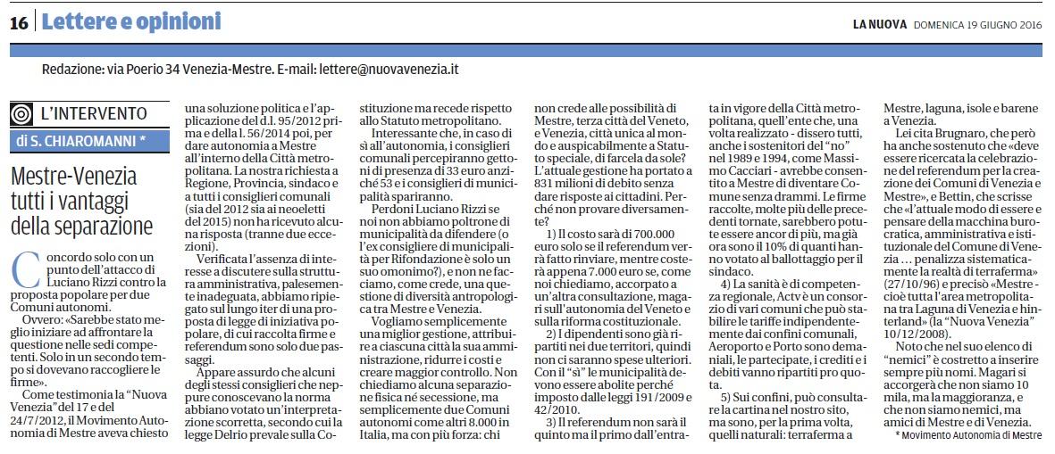 Lettera di Stefano Chiaromanni, Presidente del Movimento per l'Autonomia di Mestre, pubblicata ne La Nuova del 19 giugno 2016