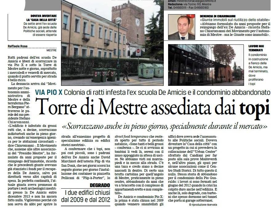 Gazzettino 8 dicembre 2016, denuncia sulla De Amicis